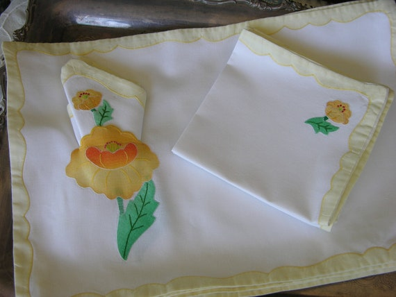 Set of Six Cotton Handmade Applique Napkin and Placemat Set  in Yellow Flowers with Yellow Border