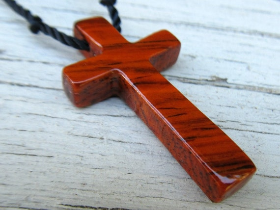 Wooden Cross Pendant - Mexican Cocobolo - Necklaces for Men
