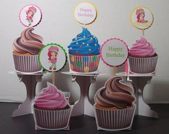 Strawberry Shortcake Cupcake Toppers-Set of 12