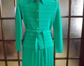 Vintage Green Pleated Skirt Suit by Kimberly w Free Shipping