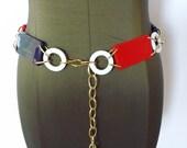Vintage 1960's Link Belt/Mod Red White and Blue Belt