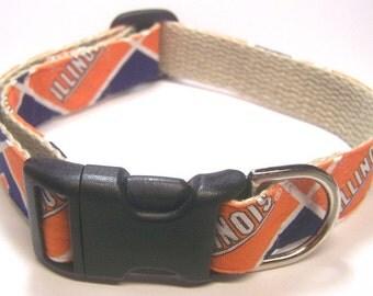 Handmade Hemp 1 inch wide Dog Collar - University of Illinois