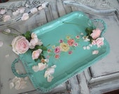 RESERVED for Kelly Fado  - Hand Painted  Tray - Serving - Tea Party  - Shabby Cottage Chic Decor - Aquamarine