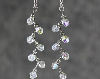 Crystal clear zigzag drop earrings Bridesmaid gifts Free US Shipping handmade Anni designs