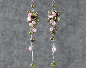 Pastel Pearl long dangling chandeleir earrings Bridesmaids gifts Free US Shipping handmade Anni Designs