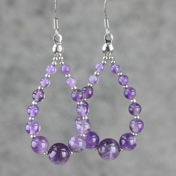 Amethyst Tear Drop Loop Hoop Earrings Bridesmaids Gifts Free