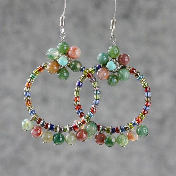 Agate flower hoop earrings Free US Shipping handmade Anni