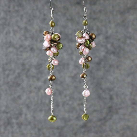 Pastel Pearl long dangling chandeleir earrings by ...
