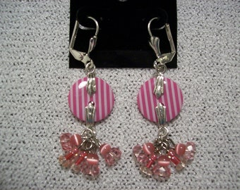 Striped Hot Pink Button Earrings