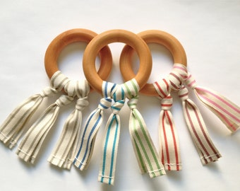 ORGANIC Wood Teething Ring Toy w/ Organic Cotton Rainbow ribbons (Unfinished birch wood)- Unisex Baby / Toddler Teether toys
