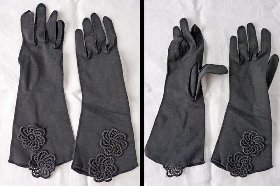 1950s Dress Gloves Glam Embroidered Mid Length in Ebony Black