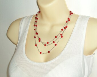 Red Beaded Christmas Berry Long Necklace - Holly Berries Beaded Double Strand or Triple Strand Very Long Necklace