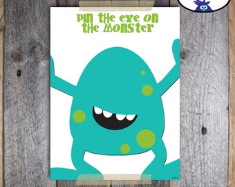 Pin the Eye on the Monster Game | Monster Birthday Party Decorations | Monster Party Game Activity | Silly Little Monster Party | Printable