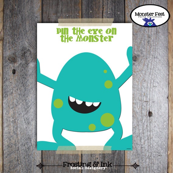 Monster Birthday Party - Pin The Eye On The Monster Game - Monster Party Game Activity - Printable (Birthday Bash, Little Monster)