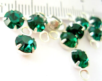 Emerald crystal silver plated dangles drops one ring 10 pieces-high quality jewelry supplies findings components