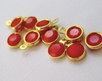 Dark Red Coral opaque crystal dangle drop charm brass 1 ring channel set 10 pieces-designer jewelry supplies findings components