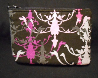 Handmade Coin Purse, wallet, change, make-up case, mod print, gothic