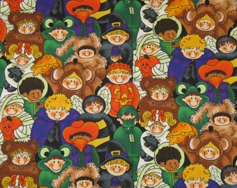 "Trick or Treat Kids Halloween Fabric    - 1 yard 44"" wide New CUTE Cotton J L Benjamin  Print"
