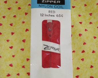 Vintage Red Zipper Talon Nylon Coil 12 Inch Dated 1973 New in Package