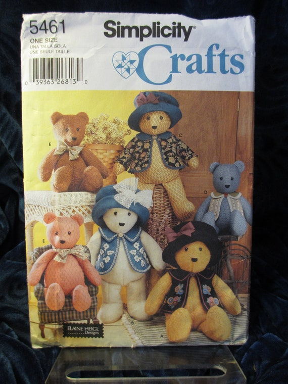 Items similar to Teddy Bear and Clothes Pattern Simplicity Crafts 5461 ...