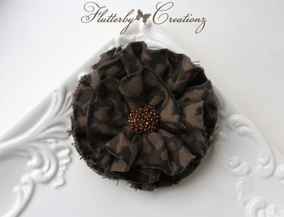 Brown Ruffled Textured Animal Print Fabric Flower Clip/Pin Combo with Copper Beads