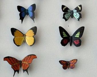 Butterfly Moth Magnets Set of 12 Insects Refrigerator Magnets, Kitchen Decor Multi Color Home Decor