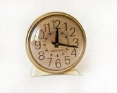 Vintage Westclox Clock Wind Up Cream & Gold - TwoStoryVintage