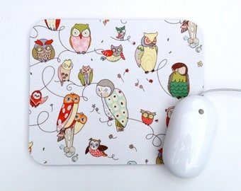 Wise Owl Mouse Pad / Natural White / Home Office Decor / Alexander Henry