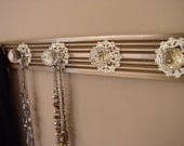 RESERVED FOR NICOLE coat rack w/ 3 super large acrylic knobs and decorative back plate on fluted moulding 17 inches long