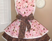 Pink Cupcake Print with Sprinkles Womans Retro Apron With Tiered Skirt And Bib