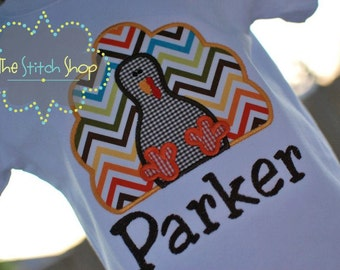 Thanksgiving Turkey  Appliqued and Monogrammed Shirt