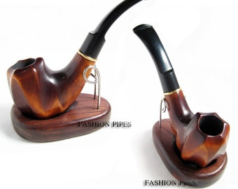 """Fashion Tobacco Pipe """"El PASO"""", Tobacco Smoking Pipe/Pipes Wood/Wooden Pipe, Wooden Tobacco Smoking Pipe fits 9 mm filters & Pouch Gift"""