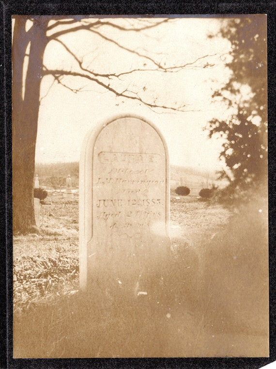 Spooky Vintage Photograph of a Gravestone- Early 1900s- Sepia