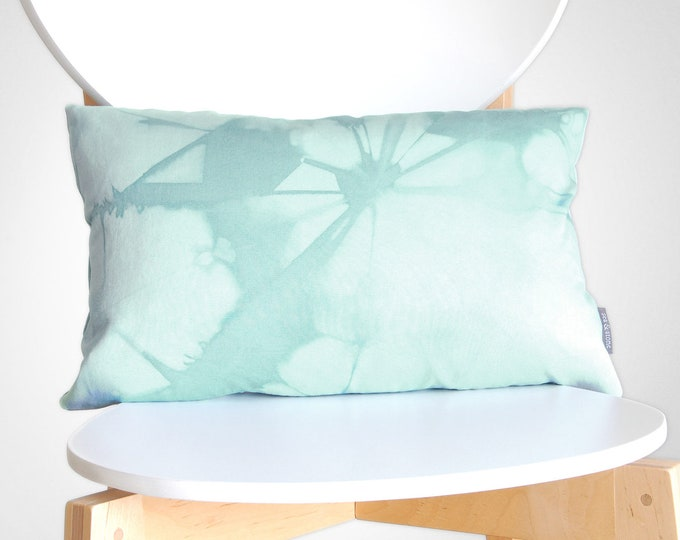 Pale Blue Shibori Pillow Cover 12x18 inches - Pale Sea Glass