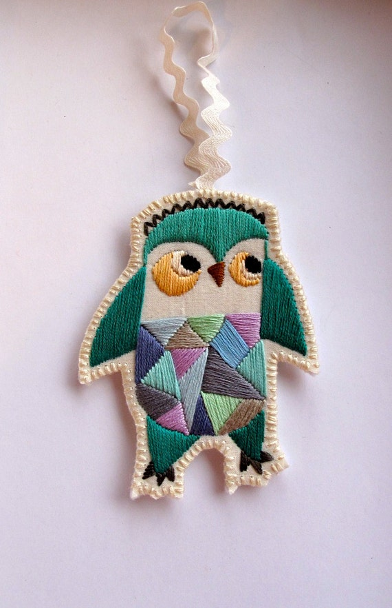 Christmas owl ornament hand embroidered geometric shapes with bright colors