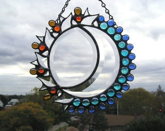 Stained Glass Art|Sun & Moon Stained Glass|Celestial Suncatcher|Art and Collectibles|Glass Art|Suncatchers|Handcrafted|Made in USA