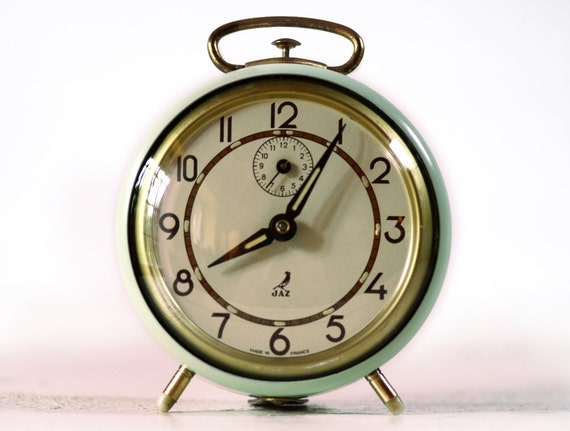 Vintage French JAZ  Alarm clock - Almond green