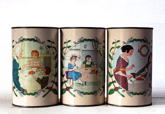 """Set of 3 Vintage  french TIN BOXES  """"RICORE"""" Shabby chic"""