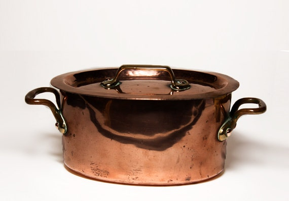 High Quality COPPER Oval Tureen Pot From Restaurant TAVERNE ROYALE - France