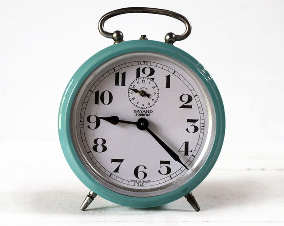 Vintage French Bayard Alarm Clock Blue Turquoise