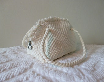 50's White Purse Woven Nylon Small Mini Handbag