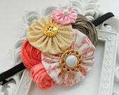 Baby Headband, Pink Headband, Newborn Flower Headband, Coral Headband