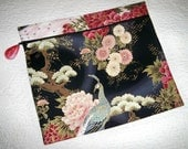 Zipper Pouch for Travel Asian Pink Black Print