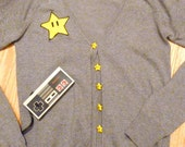 MARIO Inspired Cute Cardigan with Hand-made Applique and Hand-Made Invincibility Star Buttons