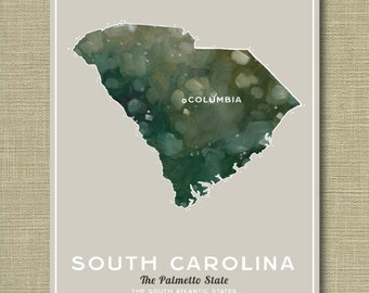 South Carolina State - Illustrated States of America 11 x 14