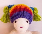 Organic merino rainbow knit tassel hat for Waldorf doll, baby doll, Baby Born doll, Handmade, Custom Listing
