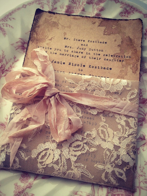 Items Similar To Lace Invitation High End Handmade Wedding