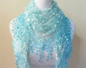 Scarf LT BLUE with floral print and rich lace edge - scarflette shawl neckwarmer - Spring / Summer