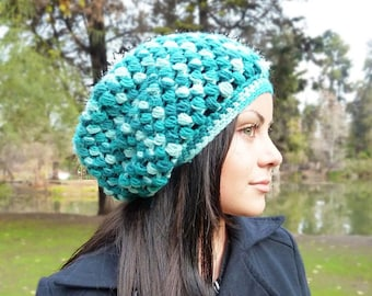Slouchy beanie hat - VARIEGATED TEAL - crochet - womens Winter Autumn accessories