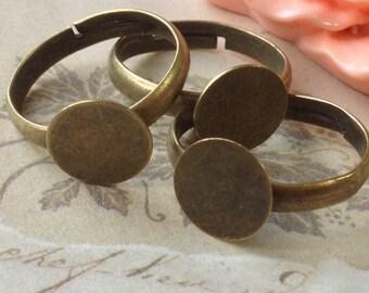 20 mm Antiqued Bronze Adjustable Ring Findings (10 mm pad) (.gu)